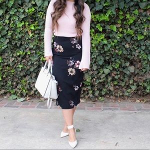 who what wear black floral midi pencil skirt